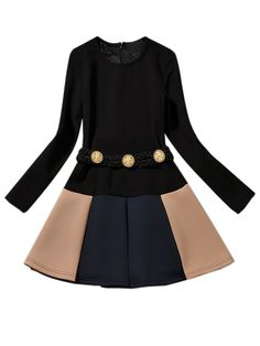Black Long Sleeve Contrast Skater Dress With Belt | Choies