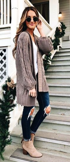 #winter #outfits gray cardigan #winteroutfits