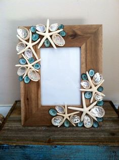 Beach Decor Seashell Picture Frame - Aqua Shell Picture Frame - Shell Frame - Seashell Frame - Coastal Home Decor Seashell Picture Frames, Seashell Frame, Picture Frame Decor, Seashell Art, Seashell Crafts, Decorate Picture Frames, Painted Picture Frames, Seashell Projects, Sea Crafts