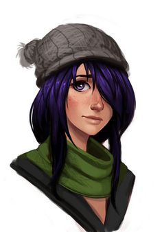 purple haired anime girl with hat and scarf