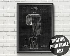 Patent Bathroom Print | Patent Print | Toilet Paper | Patent Poster | Patent Print Wall Art | Patent Printable | Toilet Roll Print | Patent Toilet Paper Patent, 40th Birthday Cards, Bathroom Prints, Patent Prints, Printable Wall Art, Wall Art Prints, Printables, Neon Signs