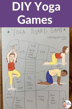 DIY yoga games that you could make at home or with your students via video. Kids Yoga Poses, Yoga For Kids, Yoga Poses For Beginners, Kid Yoga, Kinesthetic Learning, Kids Learning Activities, Teaching Kids, Movement Activities, Motor Activities
