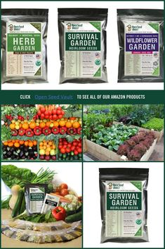 Survival Garden Heirloom Seeds. I want to get the herb ones so I can grow some in my indoor greenhouse. #ad #survival #heirloomseeds #homesteading #gardening #herbgardens #vegetablegarden #wildflowergarden