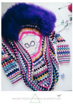 Free Crochet Pattern   Freeform Crochet Sugar Skull Cocoon Cardigan with Faux Fur Collar inspired by Coachella and Burning Man festival style fashion