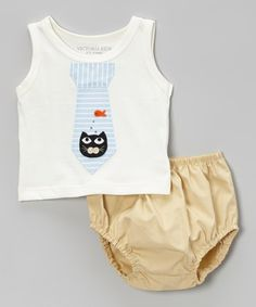 Another great find on #zulily! Off-White Cat Dream Tie Tank & Khaki Diaper Cover - Infant by Victoria Kids #zulilyfinds