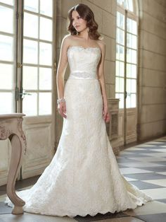 Sheath/Column Strapless Lace Satin Floor-length Sashes / Ribbons Wedding Dresses at Dresseshop