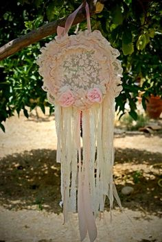 Boho Dreamcatcher, Baby Shower Decor, Cottage Dream Catcher, Boho Mobile, Shabby…