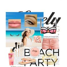 Beach by edithtoth on Polyvore featuring Le Temps Des Cerises, Scoop, Dominique Modiano, Eric Javits and Gorgeous Cosmetics