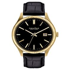 acacbde5988 Caravelle New York by Bulova Men s Black Croc-Embossed Leather Strap Watch  Jewelry   Watches - Watches - Macy s