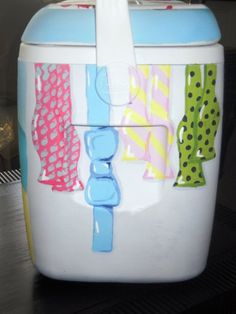 Bah! Would be so cute with bow ties painted in orange and blue. (More ideas at http://crushingoncoolers.tumblr.com/)
