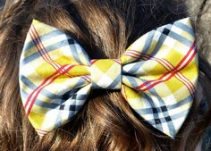 Preppy Yellow and Grey Plaid Hair Bow by DreamingOfBows on Etsy