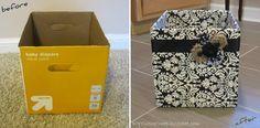 Sugestão de reaproveitamento de caixas de papelão. Nesse caso uma caixa forrada com tecido em preto e branco.