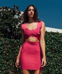 Krista Hot Pink Criss Cross Cutout Wrap Bandage Dress #MonsoonIsHere