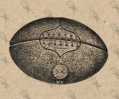 Printable Rugby Ball football black and white vintage image Instant Download Digital picture clipart graphic - transfer, burlap, iron on etc