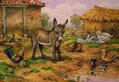 ART~ Donkey And Hens ~ Carl Donner
