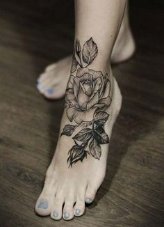foot rose tattoo ayak gül dövmesi