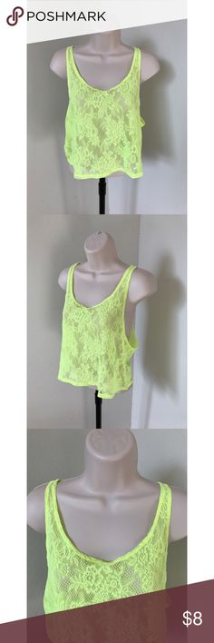 🦄Victoria's Secret PINK Yellow Lace Tank size XS Victoria's Secret tank Cropped style Size XS Completely lace  100% Polyamide Bright neon yellow Gently used, GREAT condition!  armpit to armpit - 17 inches length - 17 inches PINK Victoria's Secret Tops Tank Tops