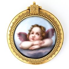 Victorian Era Angel Brooch - Enamel Painted Porcelain Set In 18k Yellow Gold Frame
