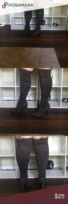 Suede, grey thigh high boots Suede, grey thigh high boots, worn once Unisa Shoes Over the Knee Boots
