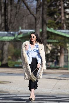 Stella Asteria Fashion & Lifestyle Blogger wearing riffled blouse & Chanel slingback at Paris Fashion Week