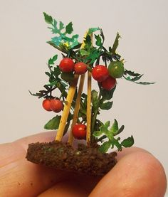 "miniature tomatoes, half scale. $12.00, via Etsy.  Ready to plant on your 1/24 garden. I made this gorgeous plant with coloured paper, wire, polimer clay for tomatos and coffee on ""soil""  some tomatos are still green, some flowers growing...."
