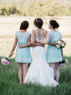 robin's egg blue bridesmaid dresses, photo by Rachel Havel http://ruffledblog.com/woodland-park-wedding #weddingideas #bridesmaiddresses