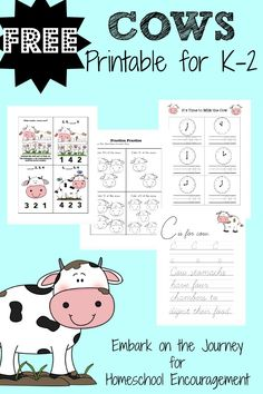 Celebrate Cow Appreciation Day with this free printable for K-2! | homeschoolencouragement.com