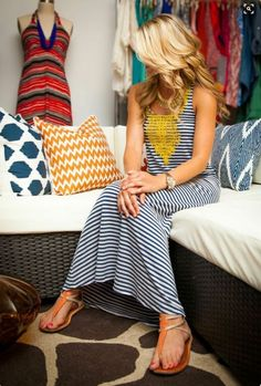 Navy and white striped maxi dress with yellow embellishment. I like the detail but not usually a yellow person but I'd give it a try