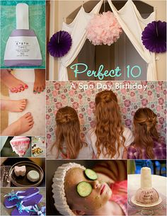 spa birthday party- so fun for little girls. So going to try to persuade Kenzie that she needs a spa bday party this year. Spa Day Party, Girl Spa Party, 13th Birthday Parties, Sleepover Party, Slumber Parties, Birthday Party Themes, 10th Birthday, Birthday Ideas, Birthday Pinata