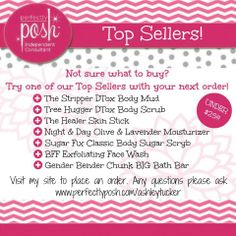 Posh Night Out anyone?!? These are SO fun! Ask me how you can host a Posh Night Out by having me come to your house, send you samples, or all online! You can earn FREE and half off Perfectly Posh products! You'll love the way they make your skin feel!