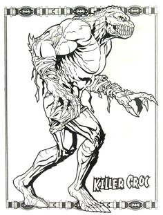 Batman Killer Croc Coloring Book Page Printable