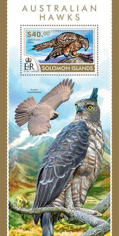 Post stamp Solomon Islands SLM 15220 bAustralian hawks (Erythrotriorchis radiatus)
