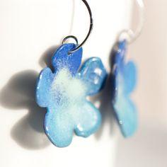 Big Flower Earrings Handmade Flower Blues Aqua by BloomingEnamels, $28.00