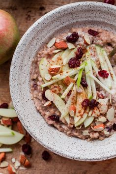 Slow Cooker Steel Cut Oats with Apple and Cranberries - A Beautiful Plate