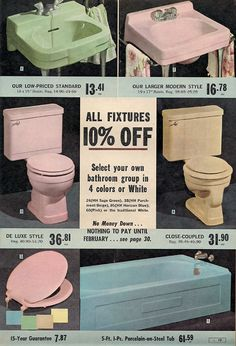 Standard bathroom fixtures. Porcelain toilets, tubs and sinks. In fantastic colors! on sale!