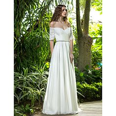 A-line Off-the-shoulder Floor-length Chiffon Wedding Dress (722143) – USD $ 199.99