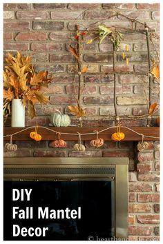 This easy DIY Fall Mantel Decor post will inspire you to gather some nature from your own backyard to create a beautiful warm and rustic fall display.