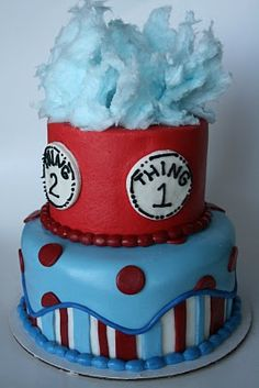 Thing One and Thing Two Birthday Cake