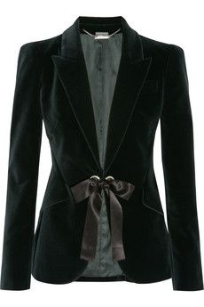 Alexander McQueen Ribbon-trimmed velvet jacket  | NET-A-PORTER