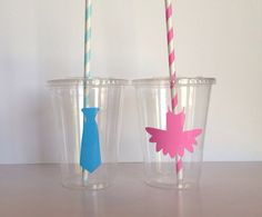 12  Tutus and Ties Gender Reveal Party Cups