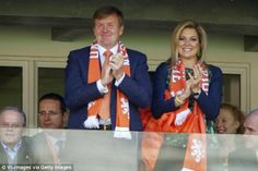 King Willem Alexander of Holland and Queen Maxima during the FIFA World Cup match between Australia and The Netherlands in Porto Alegre, Brazil.