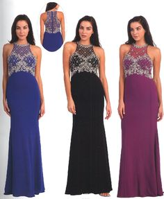 Prom Dresses Evening Dresses under $200<BR>8878<BR>Halter illusion neckline with a bead work design over entire bodice
