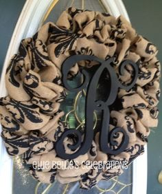 Fleur de lis Burlap Monogram Initial Wreath by EllieBelliesSigns, $40.00
