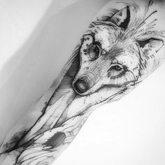 Wolf tattoo by Victor Montaghini.   Blackwork animal tattoos are classy & mysterious. They stand out due to their bold lines and complex patterns and they impose respect and admiration. Enjoy!