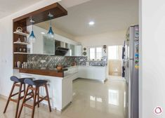 Colours Meet Class at this Adarsh Palm Retreat Home Open Kitchen Interior, Open Kitchen And Living Room, Home Decor Kitchen, Kitchen Furniture, Kitchen Kit, Decorating Kitchen, Modern Interior, Interior Decorating, Decorating Ideas