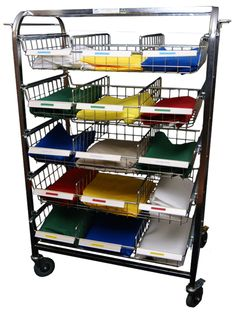 PERSONAL DISTRIBUTION TROLLEY - Distribution of clean clothing - Caters for up to 30 Residents (Double-sided), with name tags - Large polyurethane wheels - Sliding Baskets for easy access - Side Hanging Rails - Cover available - x x