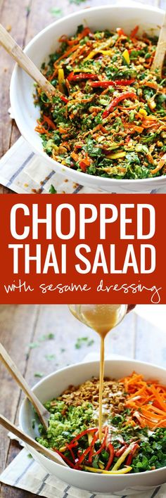 Chopped Thai Salad with Sesame Garlic Dressing - a rainbow of power veggies including edamame, bell peppers, kale, spicy cashews, and cilantro tossed with a flavorful made-from-scratch Thai dressing. 390 calories.