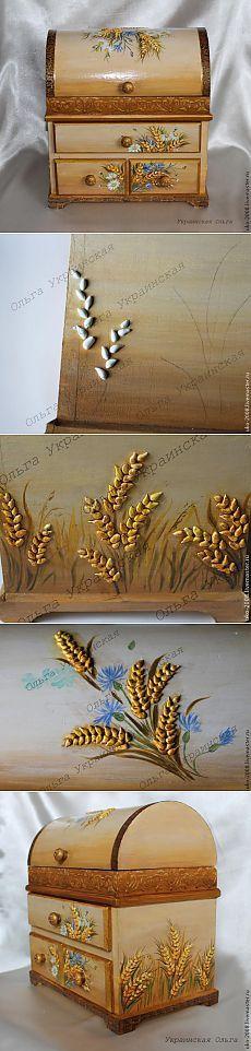 Caja decorada con granos de arroz. GENIAL.