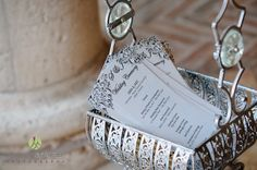 Black and white wedding programs with a vine style design across the top | Lasting Images Photography | villasiena.cc