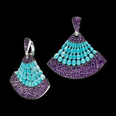 de Grisogono - Melody of Colours earrings in white gold with drop-cut turquoise and amethyst